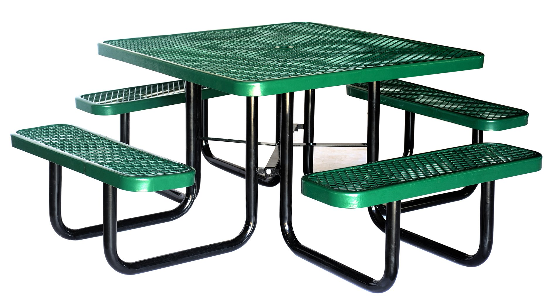 Lifeyard 46'' Expanded Square Metal Picnic Table and Benches Steel Frame for Commercial,Green