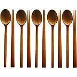 BUSHMANCRAFT Handmade Jujube Tree Wooden Utensil Spoons and Chopsticks (5 SET)