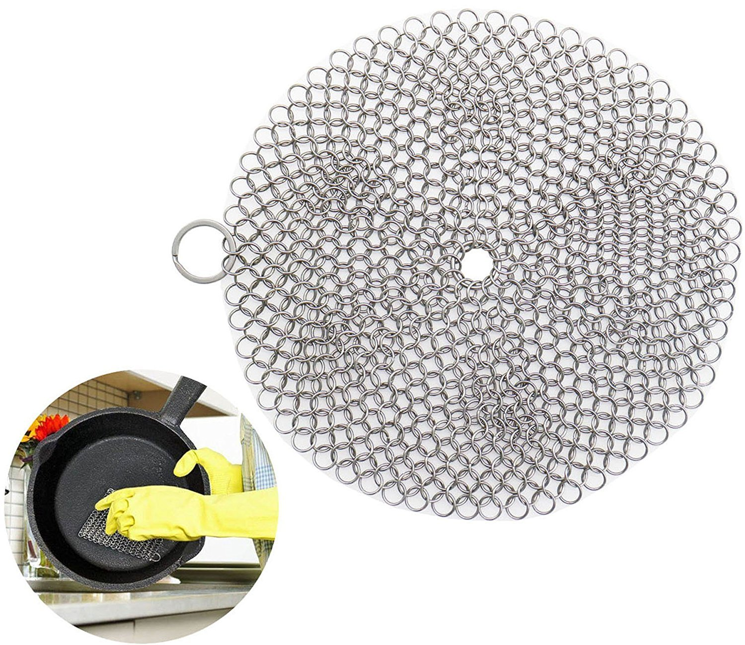 Cast Iron Cleaner, Steel Chainmail Scrubber Cookware Cleaner For Pots, Skillets, Griddle Pans, BBQ Grills and More With Hanging Ring, Round