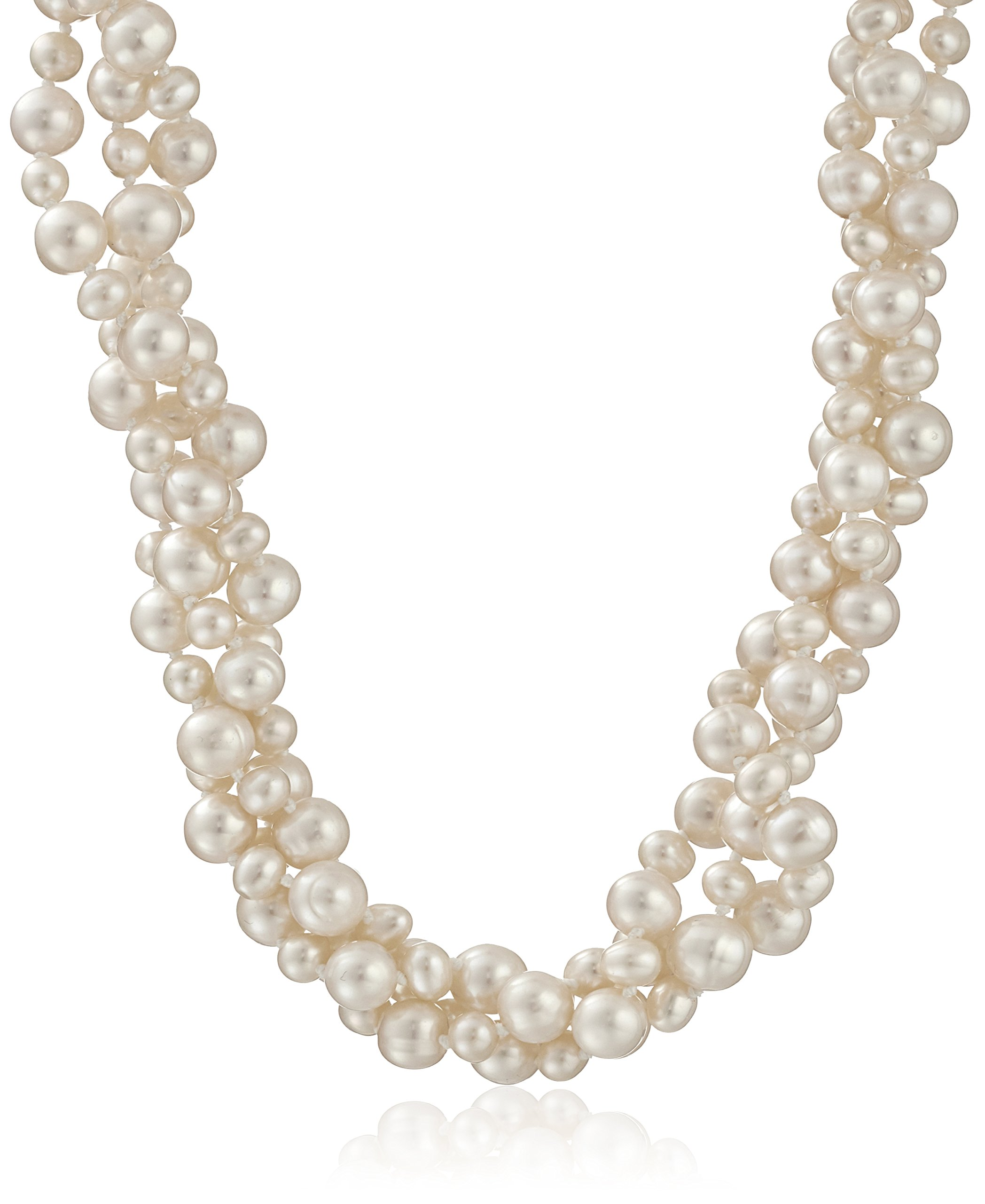 Sterling Silver 4-4.5mm and 8-8.5mm White Freshwater Cultured Pearl 3-rows Twisted Necklace, 18''