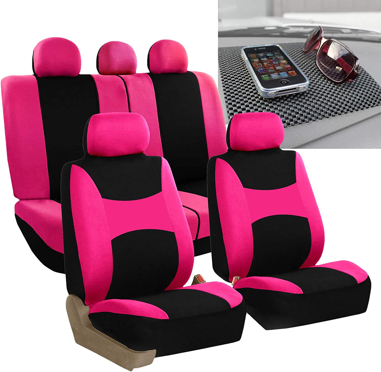 FH Group FB030115 Light & Breezy Cloth Seat Cover Set Airbag & Split Ready, Pink/Black FH1002 Non-Slip Dash Grip Pad- Fit Most Car, Truck, SUV, or Van