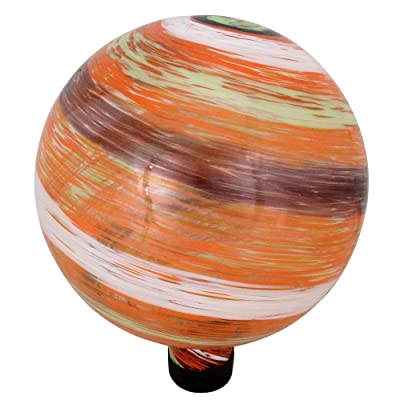 "Northlight 10"" Orange and Green Swirl Designed Outdoor Garden Gazing Ball : Garden & Outdoor"