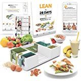 MealKitt Portion Control Container | Learn About Nutrition, Portion Sizes & Meal Prep. Calorie Counts For You | Paperback Recipe Book, Lean in 28 Days Diet Guide + Progress Tracker Card | BPA Free