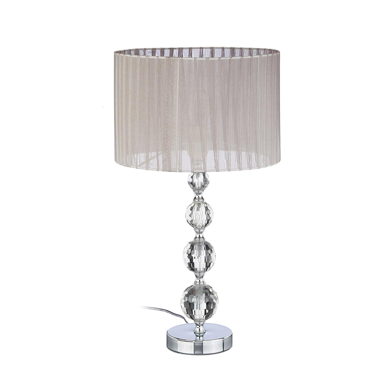Relaxdays Nachttischlampe Kristall, Tischleuchte Kugel, Tischlampe grau, Schirm, HBT: 41 x 29,5 x 29,5 cm, klar/silber