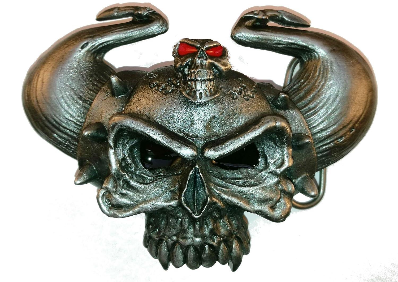 Other Motocicleta Biker Horny Devil Skull Metal Hebilla de cinturón