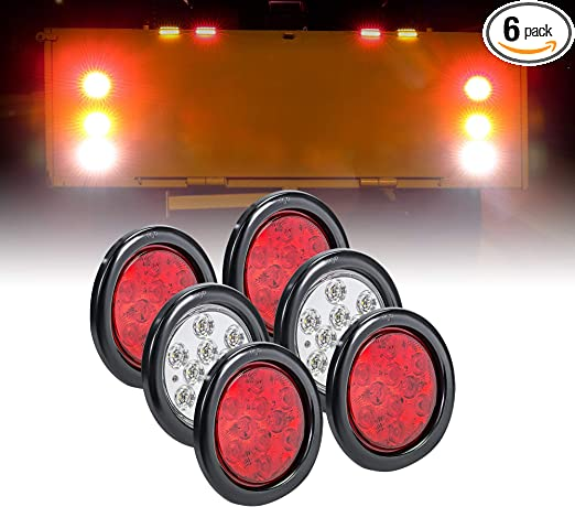 6pcs 24V 4/'/' 24 LED Side Marker Tail Lights Trailer Clearance Lamps Round White
