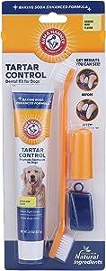 Arm & Hammer Dog Dental Care Tartar Control Kit for Dogs | Dog Dental Care Kit With Dog Toothbrush, Dog Fingerbrush, & Dog Toothpaste in Beef Flavor | With Enzymatic Dog Toothpaste to Fight Tartar