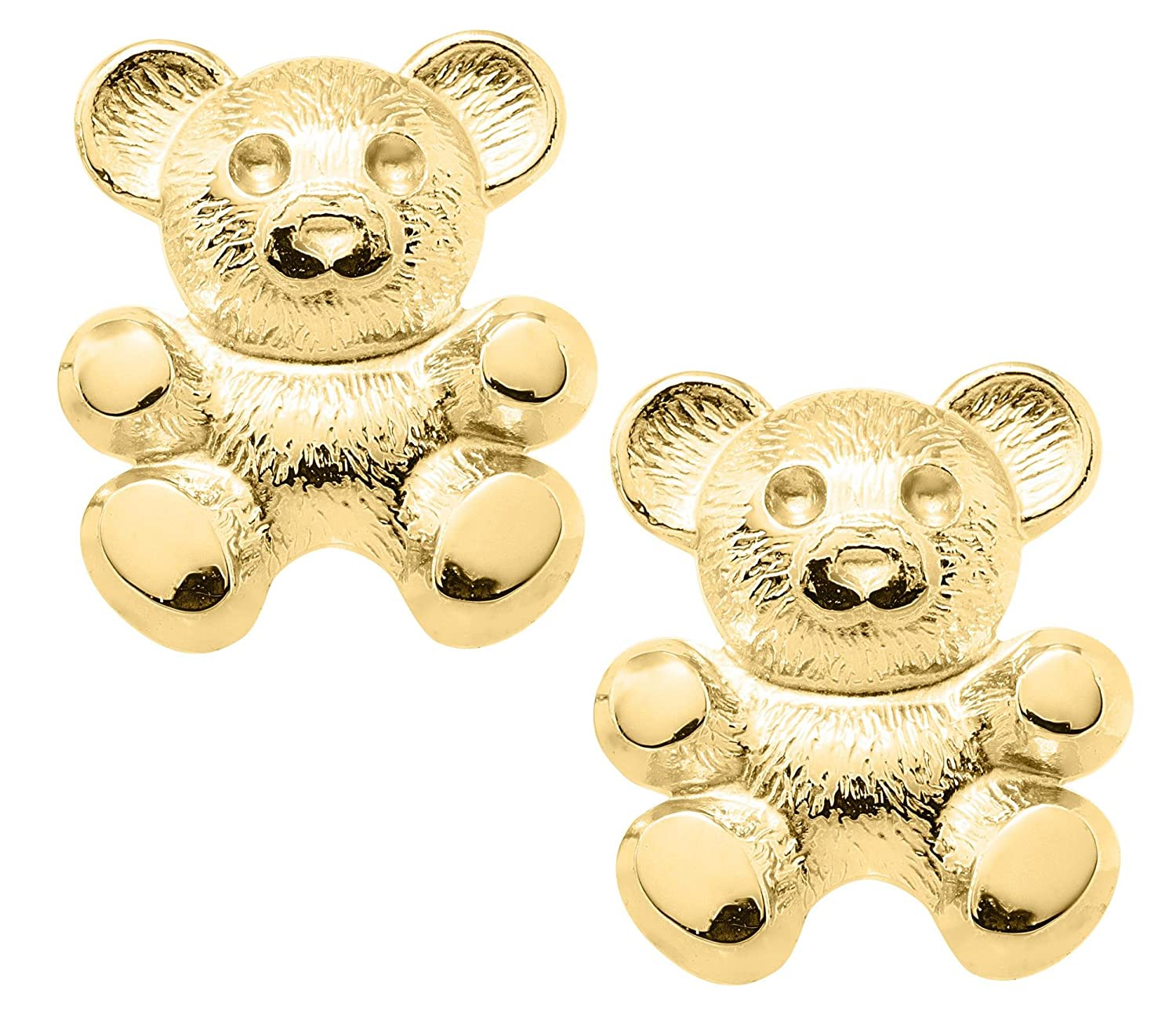 JAMBS JEWELRY 14KT YELLOW GOLD TEDDY BEAR SAFETY EARRINGS FOR CHILDREN