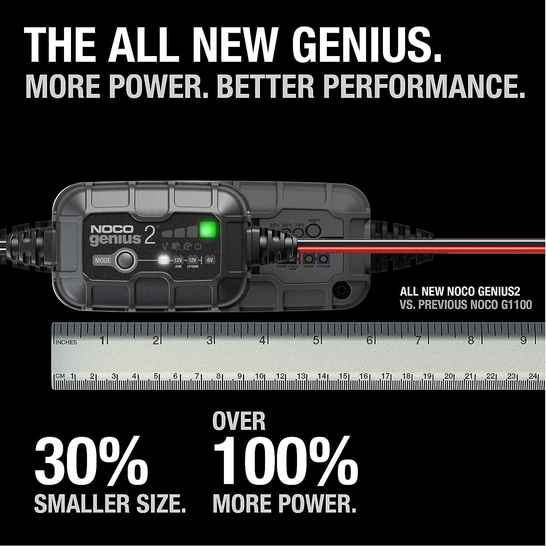 mantenitore di Carica e desolfatore di batterie con compensazione della Temperatura NOCO GENIUS2EU Caricabatterie da 6V e 12V Smart Automatico da 2 Amp