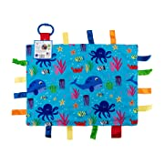 "Baby Sensory, Security & Teething Closed Ribbon Tag Lovey Blanket with Minky Dot Fabric: 14""X18"" (Ocean Marine Animals)"