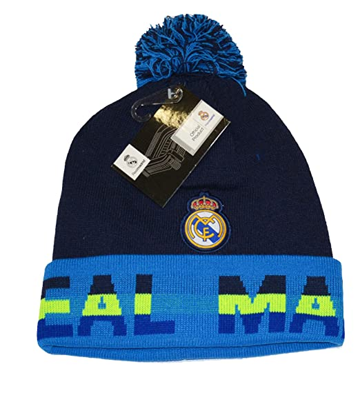 32b89d38d44 Image Unavailable. Image not available for. Color  Real Madrid Beanie Pom  Pom Skull Cap Hat New Season 2015-2016 (Blue)