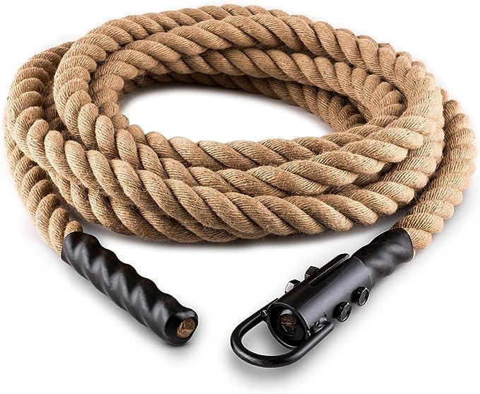 CapitalSports Capital Sports Power Rope H4 H6 Cuerda de Batalla con Gancho (4m 3,8cm, Cuerda cáñamo, Entrenamiento Funcional Fitness)