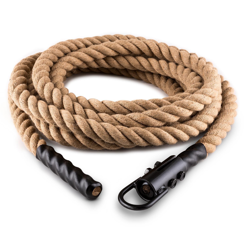 CapitalSports Capital Sports Power Rope H4 Cuerda de Batalla con Gancho (4m 3,8cm, Cuerda cáñamo, Entrenamiento Funcional Fitness)