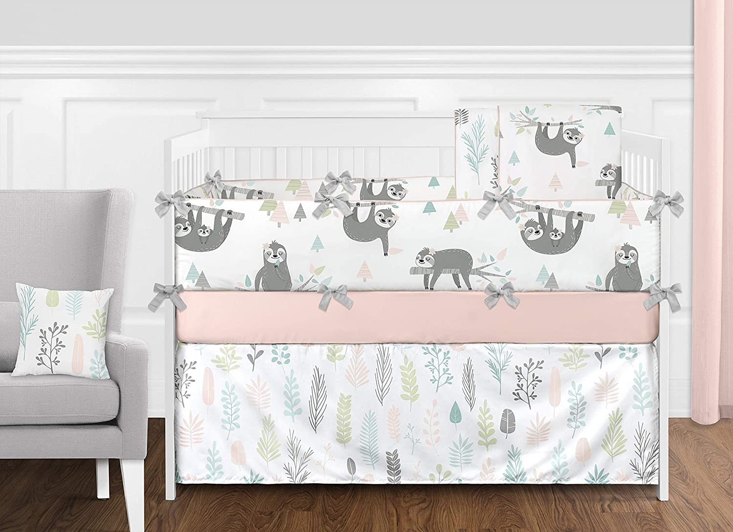 Sweet Jojo Designs Pink and Grey Jungle Sloth Leaf Baby Girl Nursery Crib Bedding Set with Bumper - 9 Pieces - Blush, Turquoise, Gray and Green Tropical Botanical Rainforest