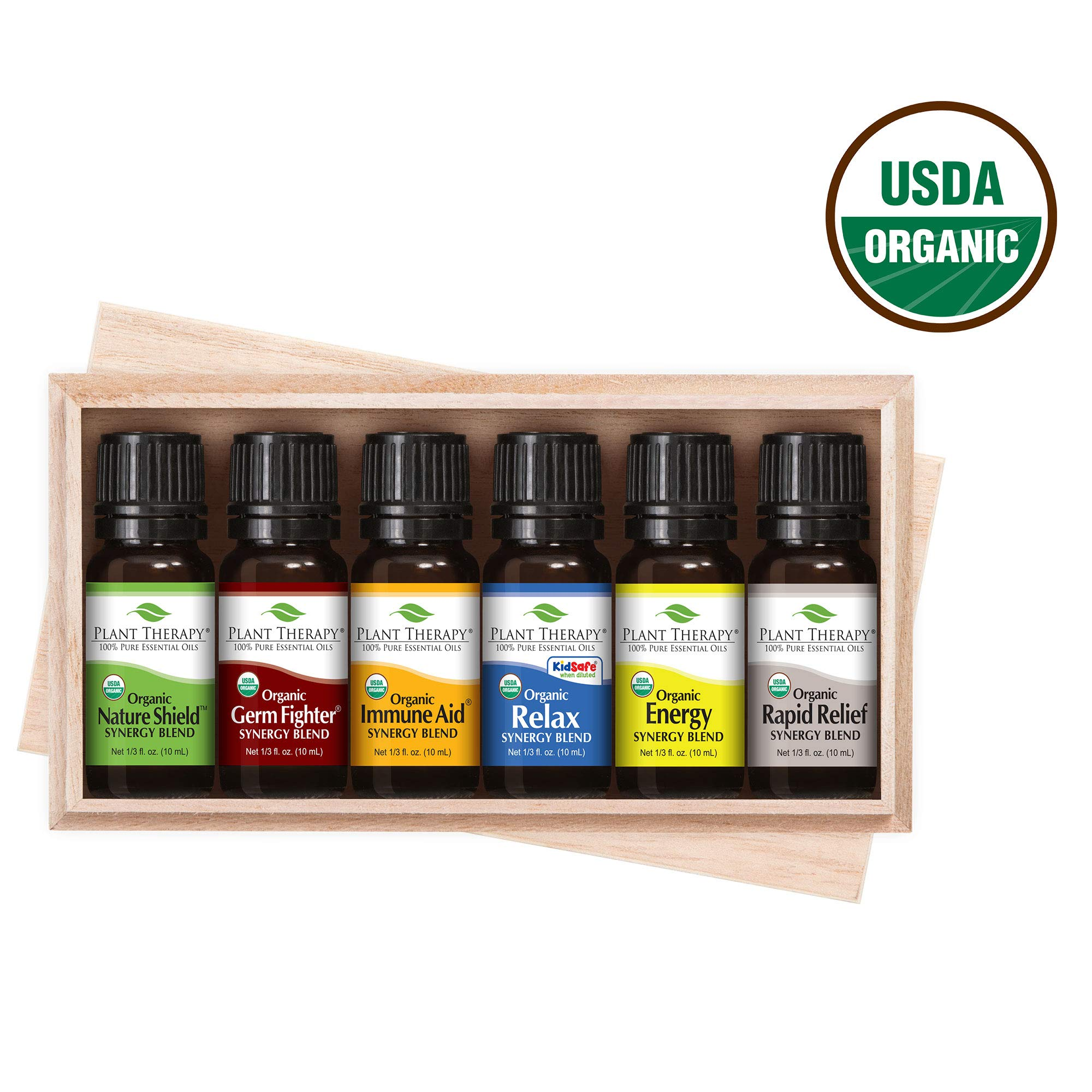 Plant Therapy Top 6 Organic Synergies Set | Essential Oil Blends for Sleep, Calm, Muscle Relief, Energy, Immunity, in A Wooden Box | 100% Pure, Undiluted, Natural, Therapeutic Grade | 10 mL (⅓ oz) by Plant Therapy
