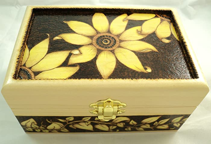 Amazon Maple Wood Woodburned Sunflower And Vines Wooden Jewelry Mesmerizing Decorative Keepsake Memory Boxes