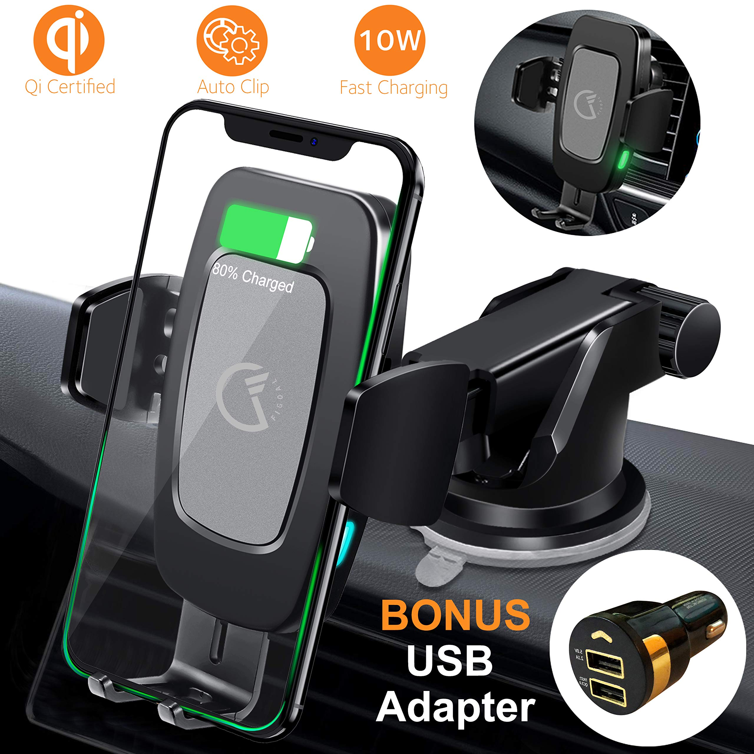 FiGoal Qi Wireless Car Charger Mount Bonus QC 3.0 USB Adapter Auto Clamping 10W 7.5W Fast Charging Air Vent Windshield Dashboard Phone Holder Compatible with iPhone X Xs Max XR 8 Android S8 S9 S10 by FiGoal
