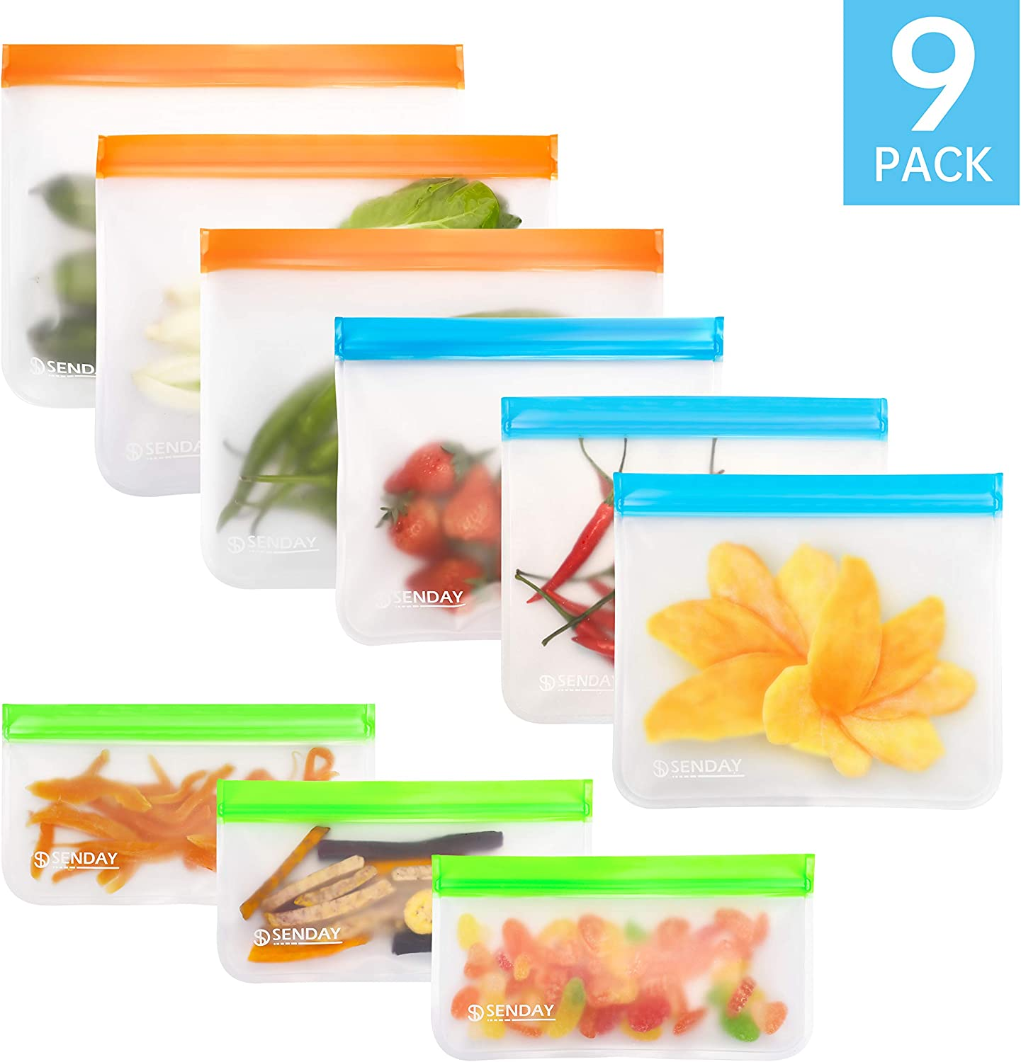 9 Pack Extra Thick BPA-Free Reusable Storage Bags(3 Freezer Safe Gallon Bags, 3 Leakproof Sandwich Bags, 3 Thick Snack Bags)PEVA Ziplock Lunch Bags for Food Marinate Home Travel Fruit Cereal Organizer
