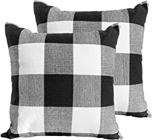 JUEYINGBAILI Throw Pillow Covers 18×18 Decorative Buffalo Check Plaid Pillow Cover - Farmhouse Christmas Square Pillowcases Set of 2 for Home Decor Sofa Bedroom Car