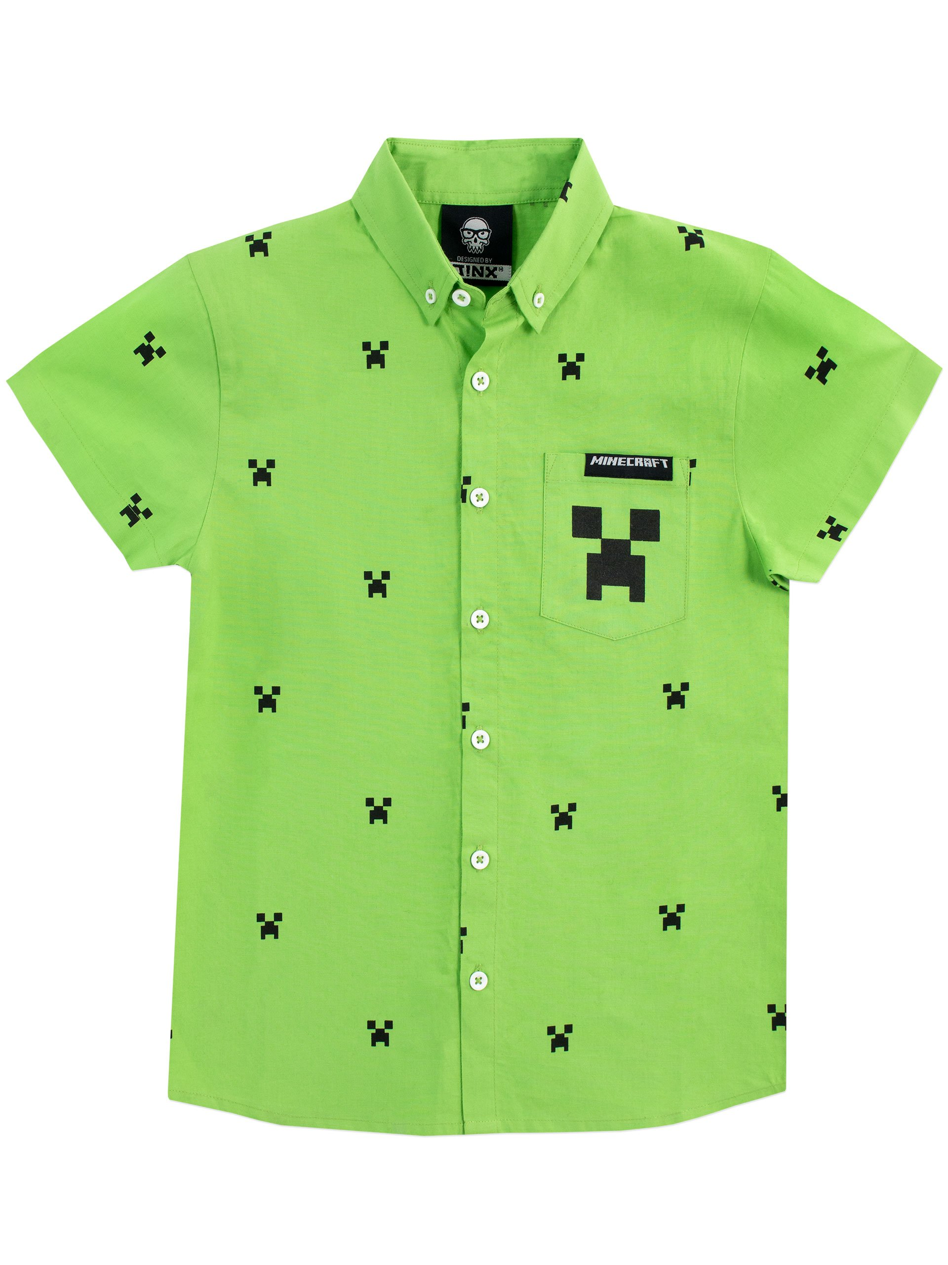 Minecraft Boys' Creeper Button Down Shirt Size 6 Green
