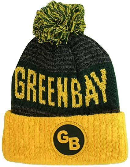 Green Bay GB Patch Ribbed Cuff Knit Winter Hat Pom Beanie (Gold Green  Patch) at Amazon Men s Clothing store  13eb28eef01
