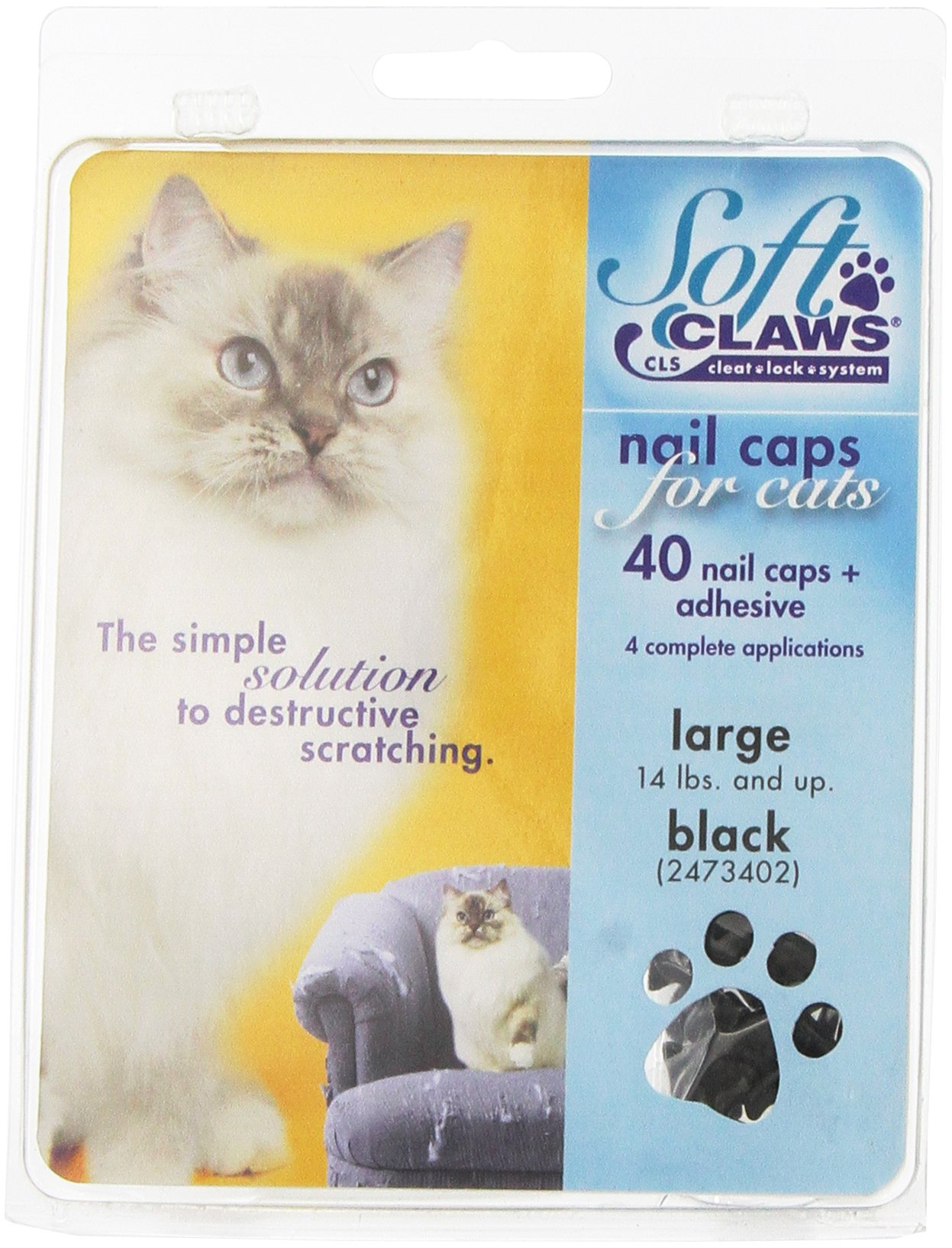 Soft Claws Feline Cat Nail Caps Take-Home Kit, Large, Black