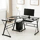 OFFICE MORE Corner L-Shape Computer Desk Glass Laptop Table Workstation Home Office Furniture, Black