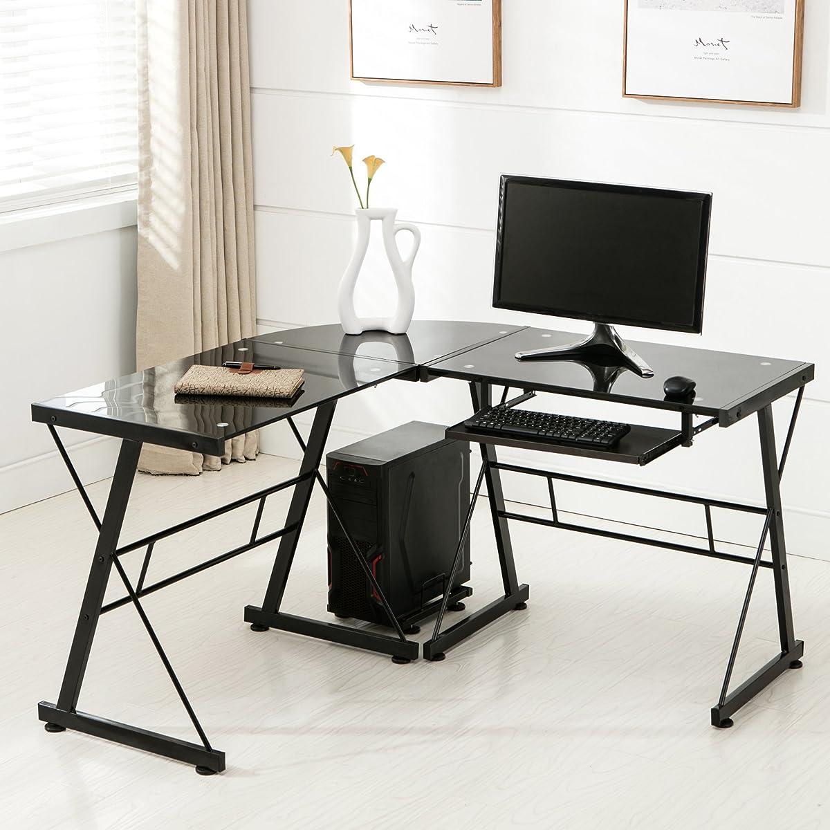 Mecor Computer Desk Corner L-Shape Glass Laptop Table Workstation with Keyboard Tray Home Office Furniture Black