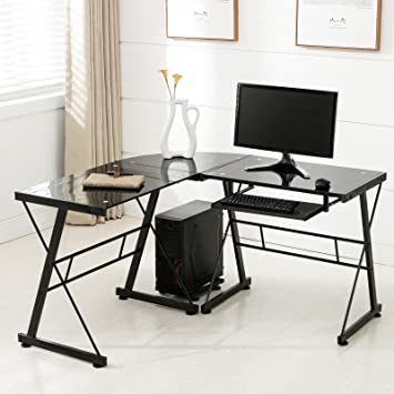 OFFICE MORE Corner L Shape Computer Desk Glass Laptop Table Workstation Home  Office Furniture. Amazon com   OFFICE MORE Corner L Shape Computer Desk Glass Laptop
