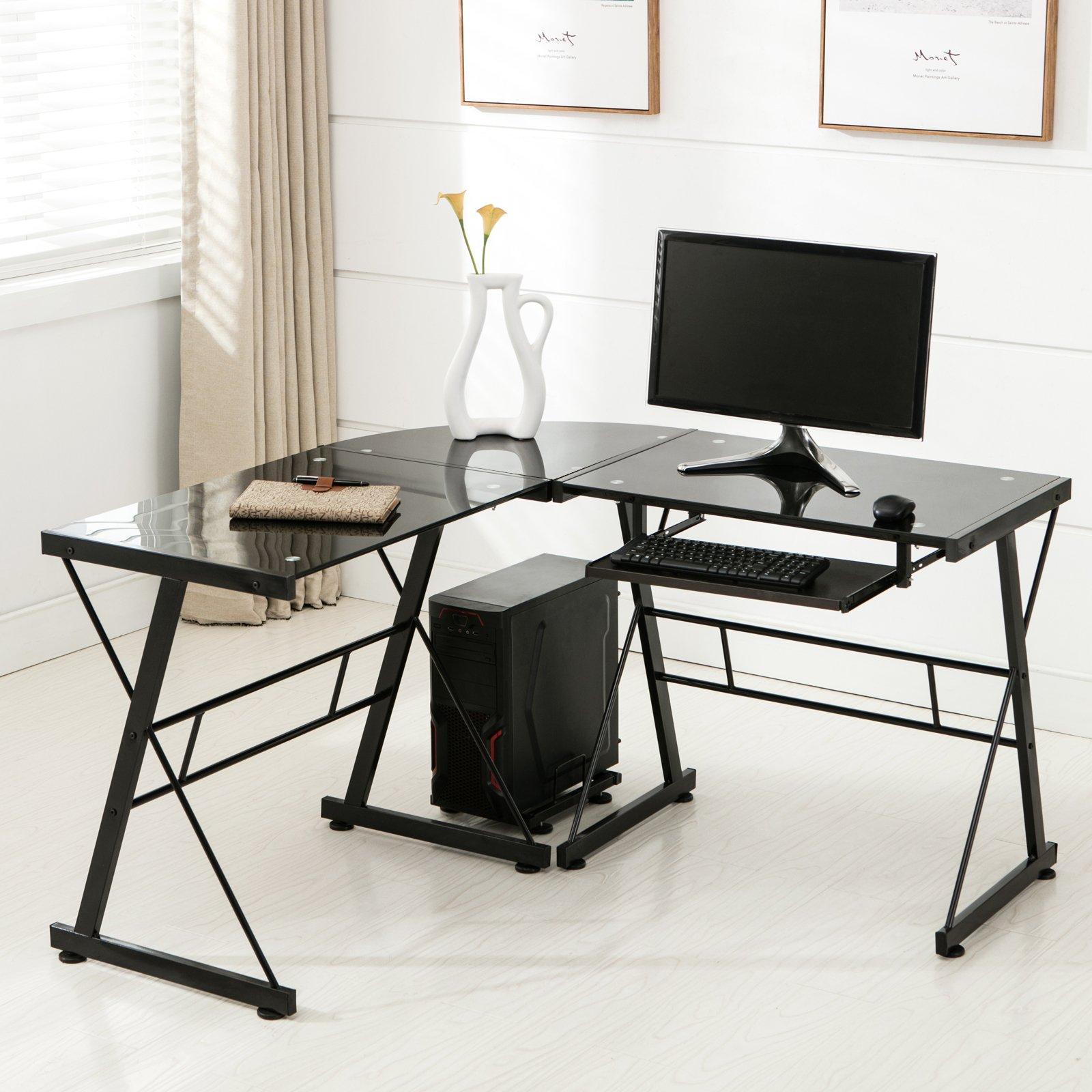 Mecor L Shape Corner Computer Desk-Tempered Glass Laptop PC Table Workstation Home Office Furniture, Black