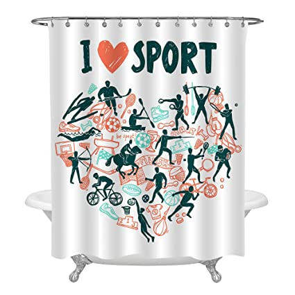 MitoVilla Sports Fan Shower Curtain Set Heart Fomed By Football Rowing Skiing Pattern Sport