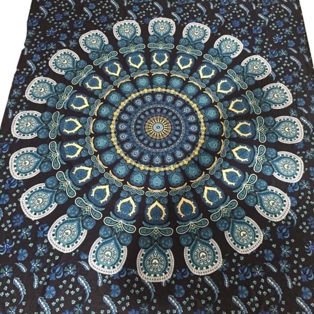Sunnyillumine Bohemian Rectangle Hippie Tapestry Beach Throw Roundie Towel Yoga Mat