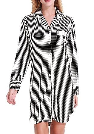 9b4f601d99 Aoymay Womens Sleepshirt Super Soft Pajamas Fall   Winter Long Sleeve  Nightgown(Black and White
