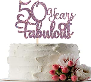 INNORU Mixed Purple Glitter 50 Years of Fabulous Cake Topper - 50th Birthday Cake Decor - 50 Years Married - 50th Wedding Anniversary Party Cake Decoration Supplies