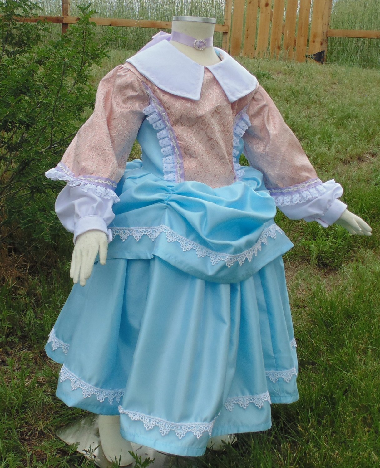 Girls 4-5 Pretty Historical party frock with petticoat, pantalets, and choker