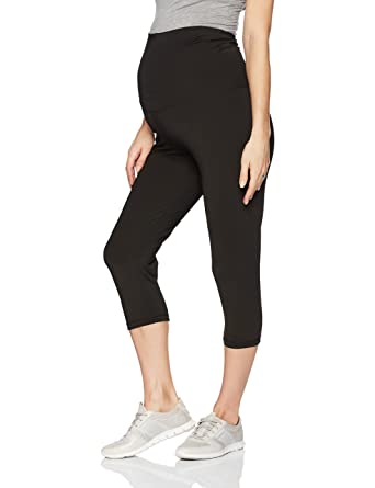 108108eb9e187 Belabumbum Women's Maternity and After Activewear Capri Pant with Belly  Support, Black, ...