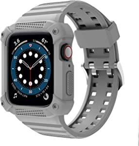 GELISHI Compatible with Apple Watch Band 44mm 42mm Series 6 Series 5 4 3 2 1 SE, TPU Rugged Sports Band with Shockproof Protective Case Bumper for Men Women , Grey