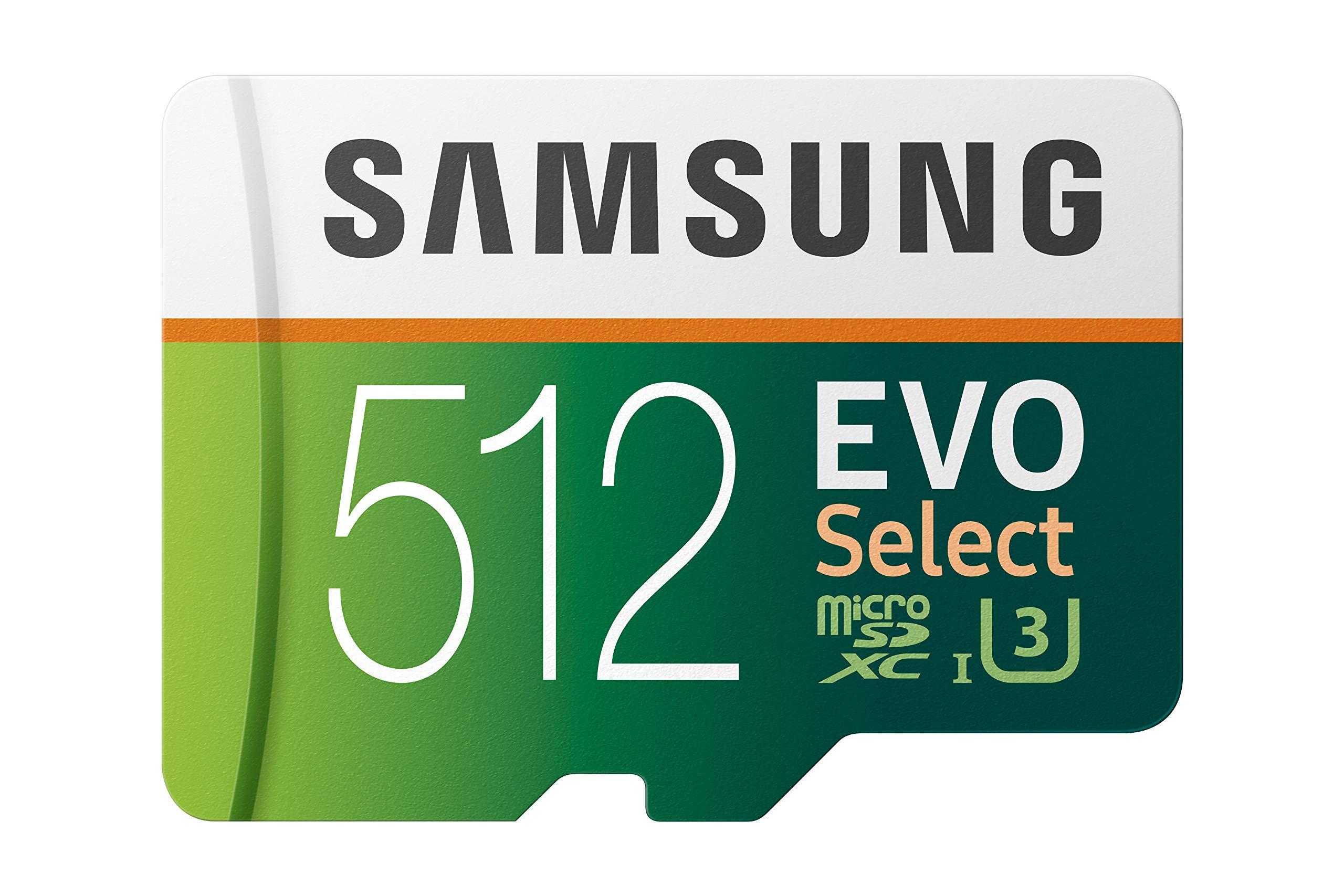 Samsung 512GB 100MB/s (U3) MicroSD Evo Select Memory Card with Adapter (MB-ME512GA/AM) (Renewed)