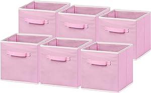 "6 Pack - SimpleHouseware Foldable Cloth Storage Cube Basket Bins Organizer, Pink (11"" H x 10.75"" W x 10.75"" D)"