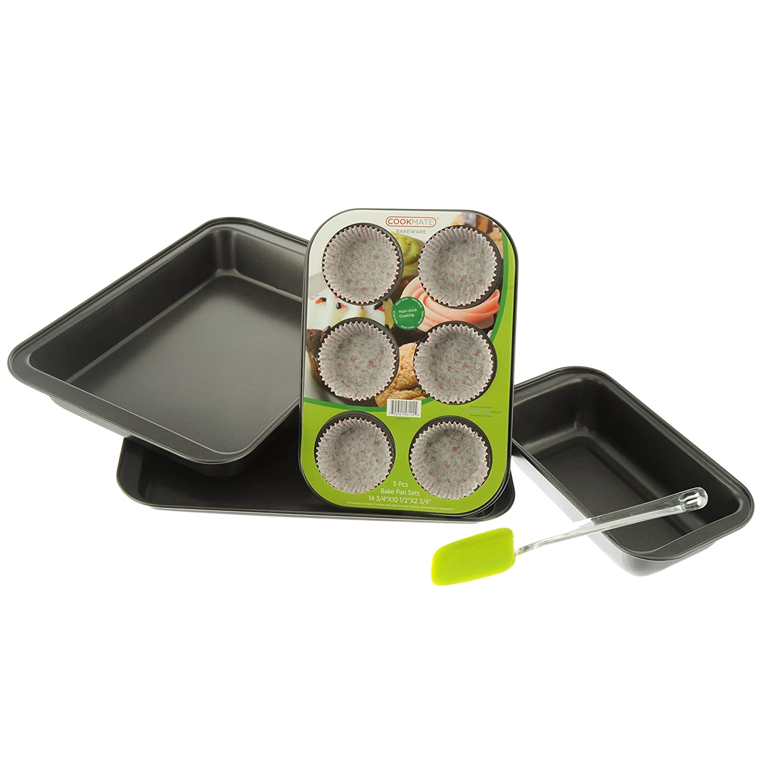 Cookmate 5-Piece Bakeware Gift Set, Charcoal Gray, 4 Pans & Rubber Spatula, by Unity Promo Power Group