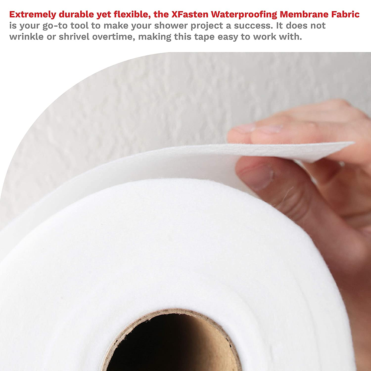 6-Inch x 75-Foot Water Barrier Mesh Tape for Shower Walls and Tiles XFasten Fiberglass Waterproofing Anti-Fracture Membrane Fabric Tape