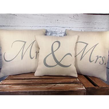 Mr and Mrs burlap Pillow Case Covers wedding set of 3