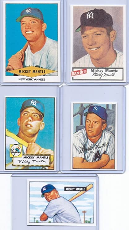 Amazoncom Mickey Mantle 1951 Bowan1952 Topps Rookie Card