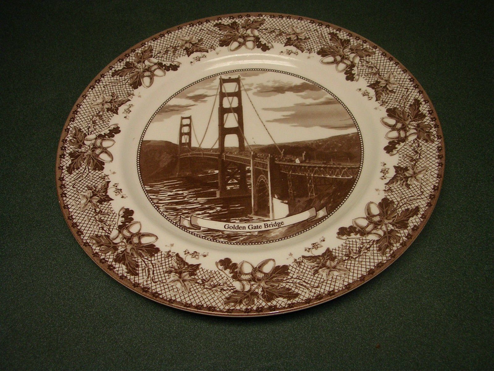 Johnson Brothers Historic America Brown Dinner Plate, Golden Gate Bridge