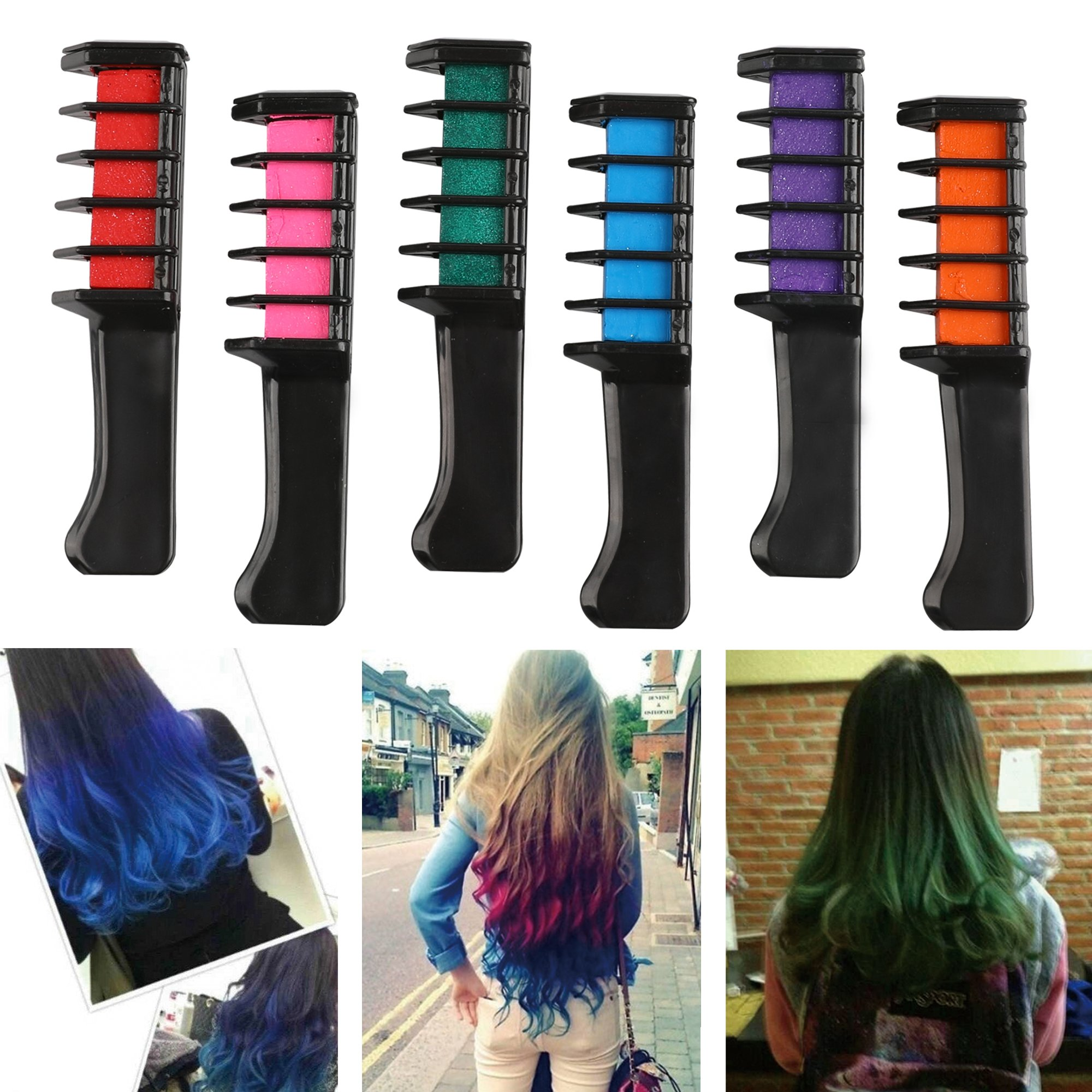 Coolyouth Hair Chalk Comb Set of 6 PCS, Temporary Hair Color Dye for Girls and Boys Dress Up, Party, Cosplay, Festivals, Salon Art DIY Hair Style Highlighting, Easy Dye and Wash Out (6 colors) by Coolyouth