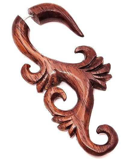 Falso Dilatador Piercing madera étnica pendiente de Gauge Expander Wood Wooden Fake espiral: Amazon.es: Joyería