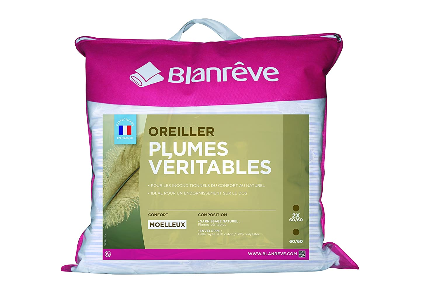 Blanr Ve Lot De 2 Oreillers Plume Traditionnels 60 X 60 Amazon Fr