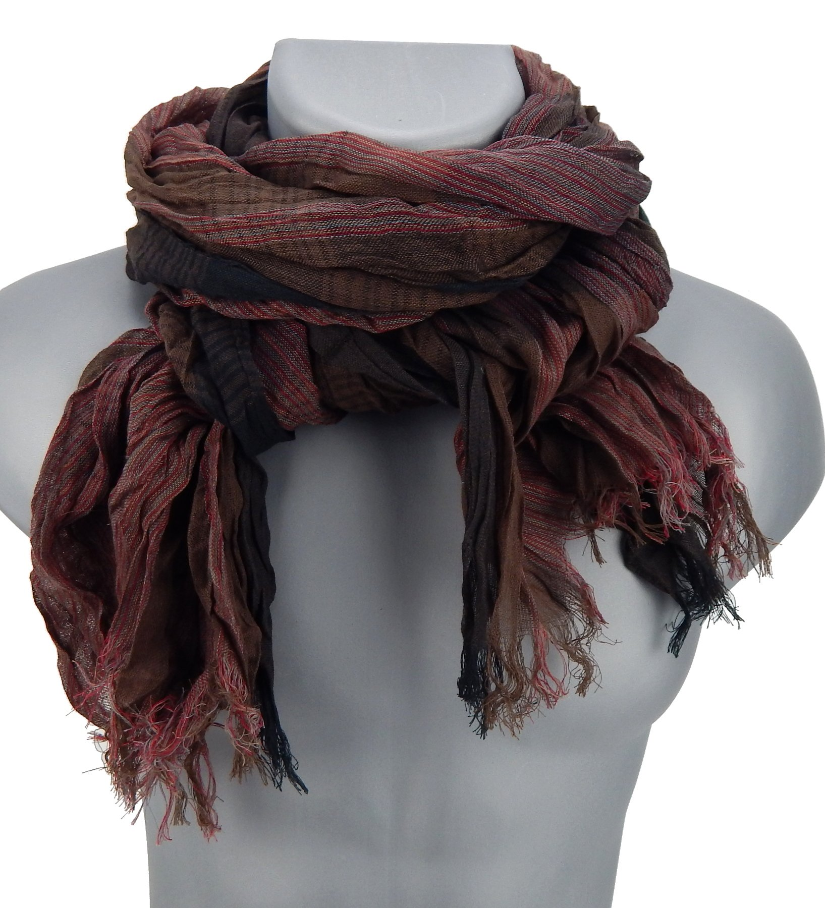 Ella Jonte mens scarf red burgund striped casual-style