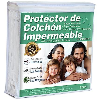 UltraBlock Protector de colchón impermeable Twin - Funda de Terry de algodón Suave Premium