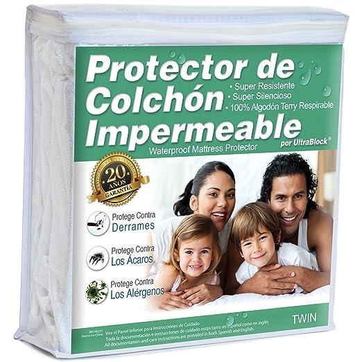 Amazon.com: UltraBlock Protector de colchón impermeable Twin - Funda de Terry de algodón Suave Premium: Home & Kitchen